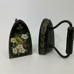 Vintage Cast Iron Flat Iron Hand Painted Warbler Bird And Floral Fauna  Book Ends