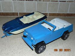 Vintage Tonka Jeepster Pressed Metal Toy W/trailer And Plastic Boat 70's, Large