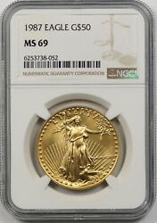 1987 Gold Eagle 50 One-ounce Ms 69 Ngc 1 Oz Fine Gold
