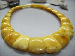 Baltic Amber Luxury 78.9 Gr Necklace Art Deco Cleopatra Style Yolkegg Colour