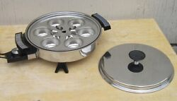 Webalco 11 Stainless Steel Liquid Core Electric Skillet W/ Egg Poacher And Lid