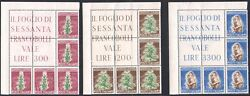 1950 Republic Italy Tobacco 3 Values N° 629-631 Block Angle Mnh Rubber