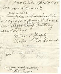 Belva Lockwood First Woman To Run For U.s President Autograph Letter Signed
