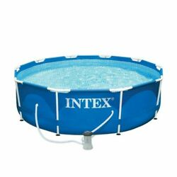 Intex 10and039x30 10 In. X 30 In. Metal Frame Pool Set Pump Included