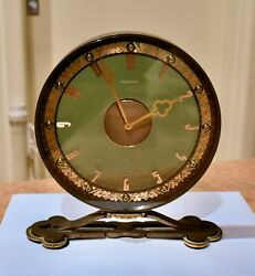 1950s Deco Brass Jaeger Lecoultre Lge Round Smoked Glass 8 Day Desk Clock Works