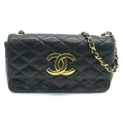 Auth Quilted Cc Ghw Shoulder Bag Lambskin Leather Black 3018