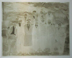 Group Photo, Young Men In Coats And Hats. 4x5 Glass Plate Negative. 1900s