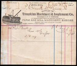 1884 Dallas Tx - Tompkins Machinery And Implement Co - Engines - Letter Head Rare