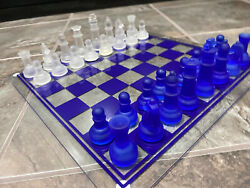 Beautiful Blue Glass Chess Set Complete Blue And Clear Pieces Vintage