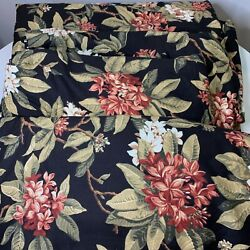 Custom Pleated Curtain Panel Set 4 Black Red Floral Tropical Flowers Lined