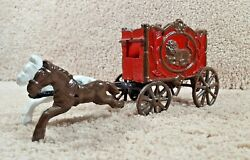 Arcade Hubley Cast Iron Horseand039s Drawn Lion Circus Carnival Wagon Carriage