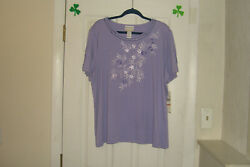 Alfred Dunner Plus Size 2x Top Nantucket Iris New With Tags