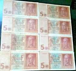 8 Great 1942 Hitler Youth 5m Notes W Swastika Crisp Vf To Xf-au Steal @ 11.99