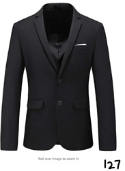 Mens Casual Two Button Suit Jacket Single Breasted Modern Wedding Tux Blazer 40
