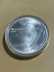1975 Canada 5 Dollars Platform Diver Olympic Silver Commemorative Coin