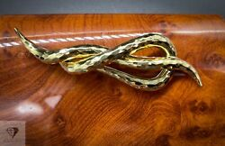 Vintage Henry Dunay 18k Yellow Gold Hammered Brooch / Pin 30g 255