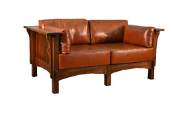 Mission Style Solid Quarter Sawn White Oak Two Sitter Love Seat Leather Cushions