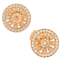 And Co. Flower Collection Earrings Stud In 18k Rose Gold W/ Diamonds