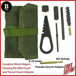 Cleaning Kit For Mosin Nagant M44 With Thread Covert Adapter And Pouch