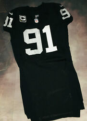 100 Authentic Nike 2012 Raiders Justin Tuck Game Worn Autographed Jersey 46+6