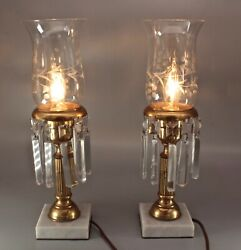 Pair Etched Hurricane Parlor Boudoir Lamps Italian Marble W Glass Prisms 13.5