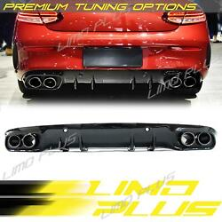 C43 Style Rear Diffuser Black Exhaust Tips For Mercedes W205 C205 Coupe C300 Amg