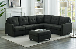 7pcs Contemporary Linen Cushions Modular Sectional Sofas Chaise With Ottoman
