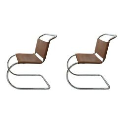 2 X Mies Van Der Rohe Mr10 Dining Chairs 1960s Midcentury Chrome Leather Vintage
