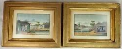 Pair Antique Chinese 19th C. Tea Trade Canton Silk Watercolor Paintings Qing