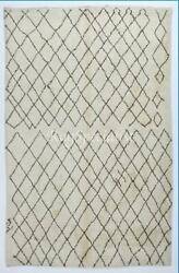 Moroccan Berber Rug Made Of Natural Cream And Light Brown Wool