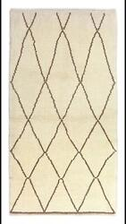 Modern Moroccan Berber Rug, 100 Natural Undyed Wool, Custom Options Available