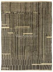 Modern Hand Knotted Wool Rug, Charcoal Gray And Cream Colors Custom Options