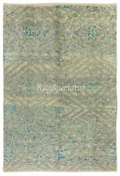Contemporary Hand Knotted Rug In Light Blue And Gray Cream Color, 100 Wool