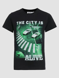 120 Molo Boyand039s Black Short-sleeve Crew-neck The City Is Alive Graphic T-shirt 6