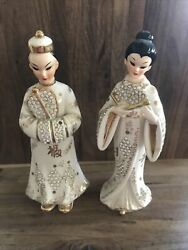 Vintage Geo Lefton 1956 Pair Of Gold And White Geisha And Male Figurines
