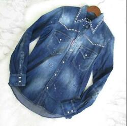 Dsquared2 Dsquared Denim Shirt Damage Paint Size 46 Silver Studs Made In Italy
