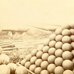 1860s Civil War Row Of Cannons Cannon Balls Brass Monkey Rare Artillery Staging