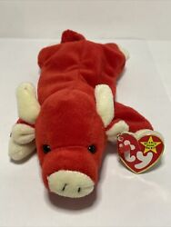 Rare Ty Beanie Baby Retired Snort The Bull 1995 New Still Has Red Hole Punch