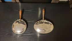 Two Vintage Silverplate Silent Butler Crumb Catcher And Ash Tray W/wood Handles