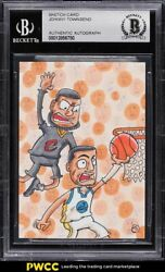 Lebron James And Stephen Curry Sketch Card 1/1 By Johnny Townsend Bas