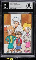 The Golden Girls Betty White Bea Arthur Sketch Card 1/1 By Johnny Townsend Bas