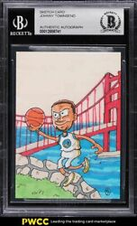 Stephen Curry Golden State Warriors Sketch Card 1/1 By Johnny Townsend Bas