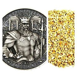 1 Troy Oz .999 Silver Mythical Cities Antique Finish +10 Piece Alaskan Gold Nugs