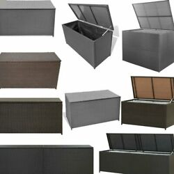 Outdoor Garden Storage Cushion Box Chest Poly Rattan Patio Chest Trunk Container