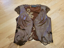 Richard Tyler Couture Vintage Brown Leather And Silk Thread Crochet Vest Top
