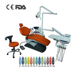 Red Dental Chair Unit Hard Leather Computer Controlled With Stool Ocean Shipping