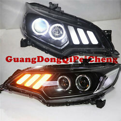 Headlights Mustang Style With Led Angel Eyes Lamps For 2014-2016 Honda Fit New