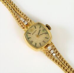 Rolex Case And Band Solid 14k Gold Diamonds With Quartz Movement