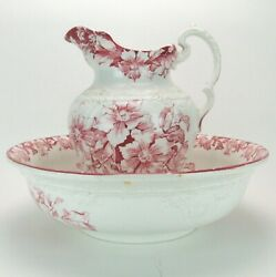Antique Staffordshire Red Transferware Wash Basin And Pitcher England Grimwade