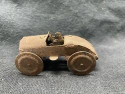 Antique Primitive Tin Rusted Small Toy Race Car